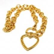 Colar Corrente Elos Duplos Coração Banhado ouro 18k