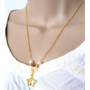 Colar Corrente Feminina Estrela Banhado A Ouro 18k 50cm Dourado