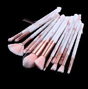 Conjunto 15 Pincéis Maquiagem Profissional White Rose