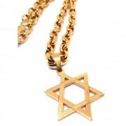 Cordão Corrente Elo Cadeado Banhada Ouro 18k Estrela de Davi