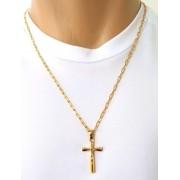 Cordão Corrente Elo Cadeado Banhada Ouro 18k Jesus na Cruz