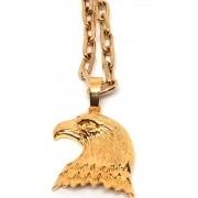 Cordão Corrente Elo Cadeado Banhada Ouro 18k Ping Águia