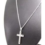 Corrente Cordão Aço Cirúrgico 316L 2mm Ping Jesus na Cruz