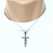 Corrente Cordão Aço Cirúrgico 316L 2mm Pingente Jesus Grafia