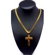 Corrente Cordão Banhado Ouro 18k Malha Groumet Ping Cruz