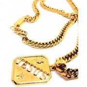 Corrente Cordão Malha Corda Banhada ouro 18k Ping Jesus