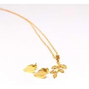 Kit Colar Folhas + Brinco Pequeno Banhado a ouro Folha