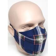 Máscara 3D Algodão Estampada Xadrez Azul Lavável