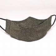 Máscara 3D Algodão Lurex Brilhoso Fashion Luxo Lavável Verde