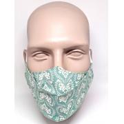 Máscara 3D Algodão Verde Folha Arabesco Off White