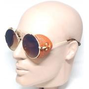 Óculos De Sol Steampunk Dourado Marrom Lova Scarlet