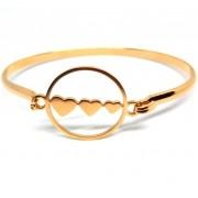 Pulseira Bracelete Feminina 3 Corações Banhada Ouro 18K