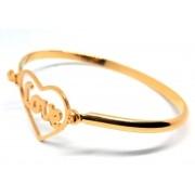 Pulseira Bracelete Feminina Love Coração Banhada Ouro 18K