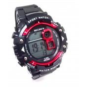 Relógio Digital Masculino Preto com Vermelho Relogs