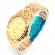 Relógio Feminino Dourado com Strass 5atm Xufeng