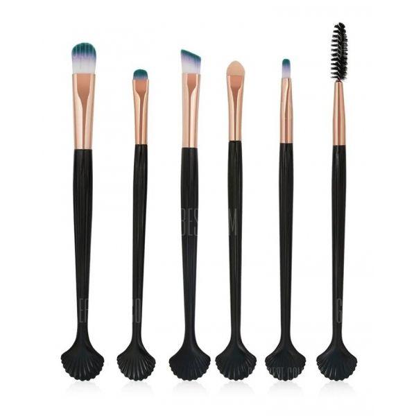 6 Pincéis Maquiagem Cauda Sereia Extra Soft Preto