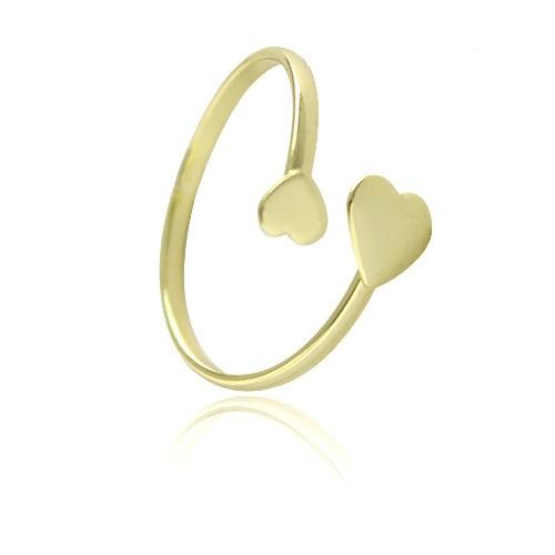 Anel Feminino Ajustável com dois corações Banhado Ouro 18k