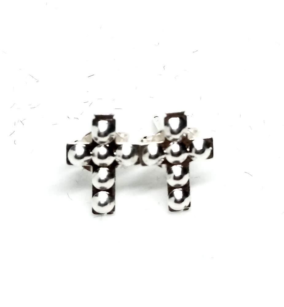 Brinco Pequeno Cruz Estilizada Banhado a Prata 10mm