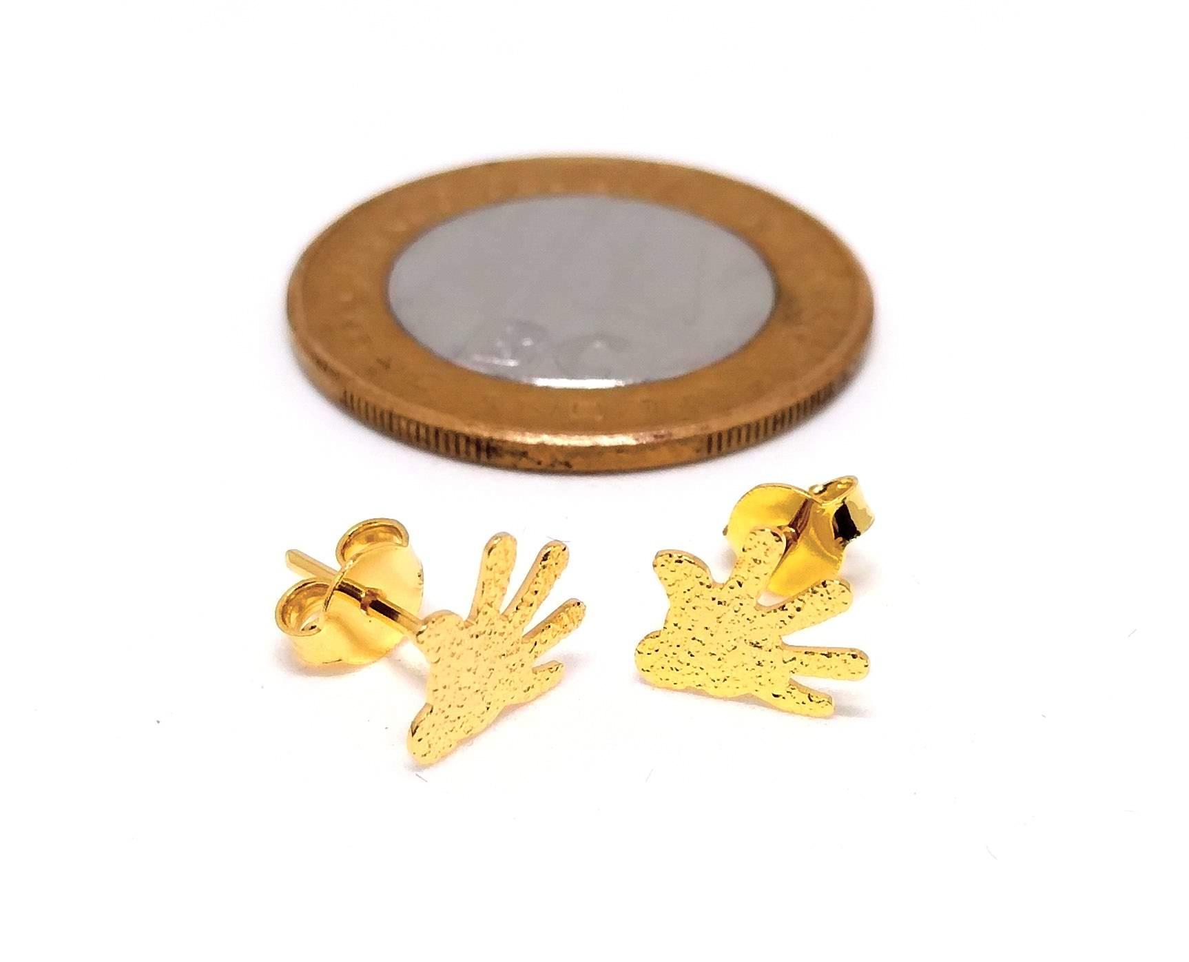 Brinco Pequeno Feminino Banhado a Ouro Mão Mickey