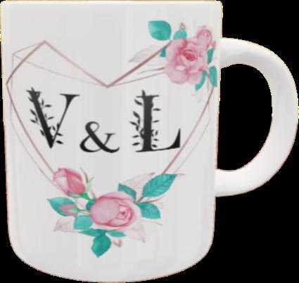 Caneca Dia dos Namorados Iniciais Flores Coração Minimalista