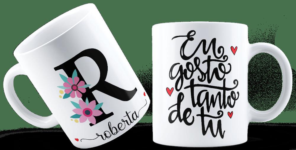 Caneca Cerâmica com Nome e Letra Inicial Customizada Frases
