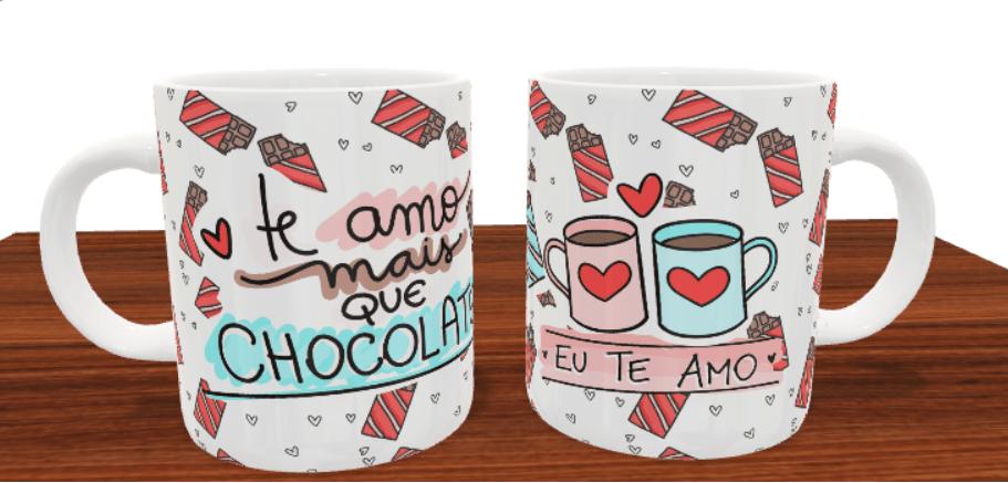 Caneca Te Amo Mais que Chocolate Dia dos Namorados Presente