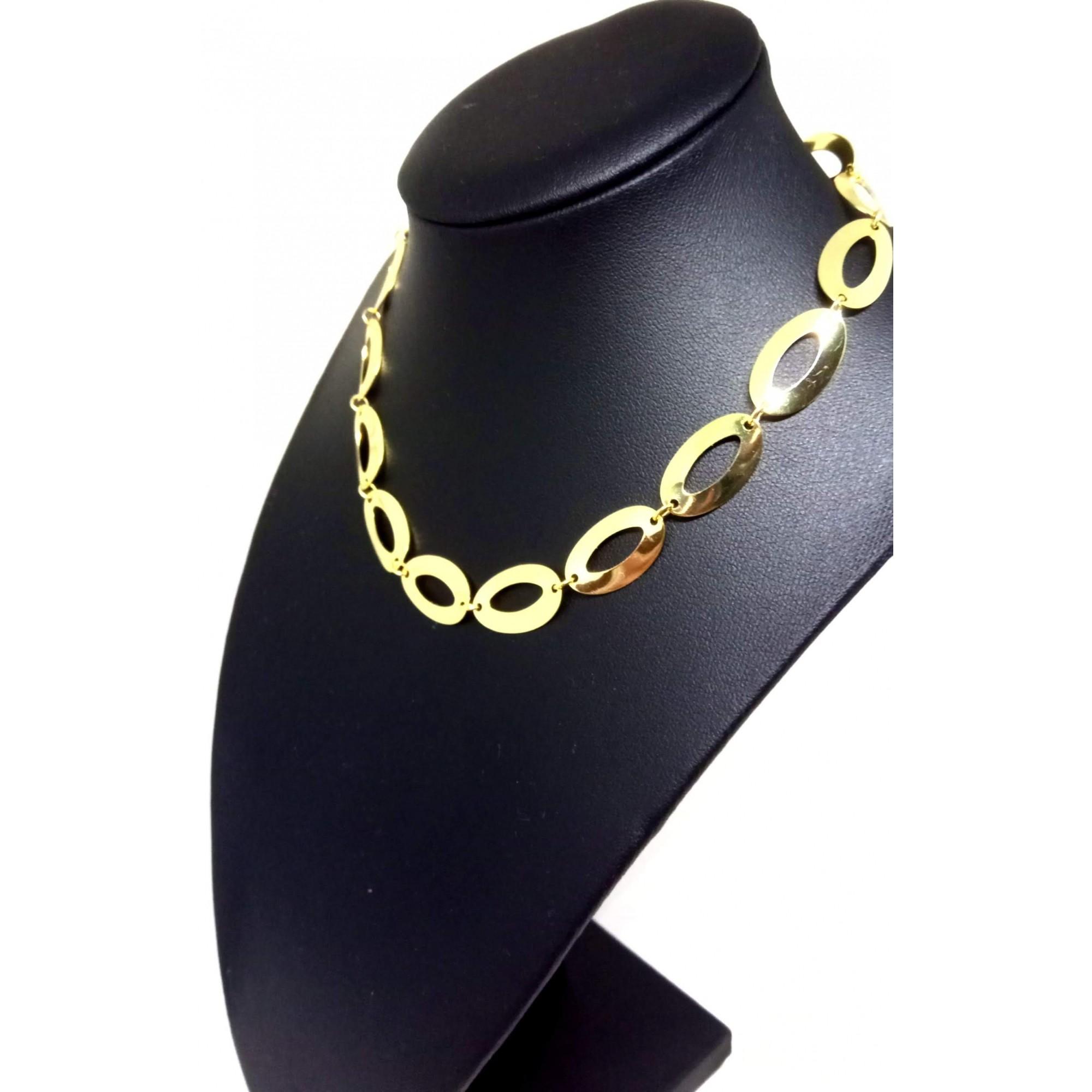 Colar Choker Feminino Banhado ouro 18k 45cm 12mm
