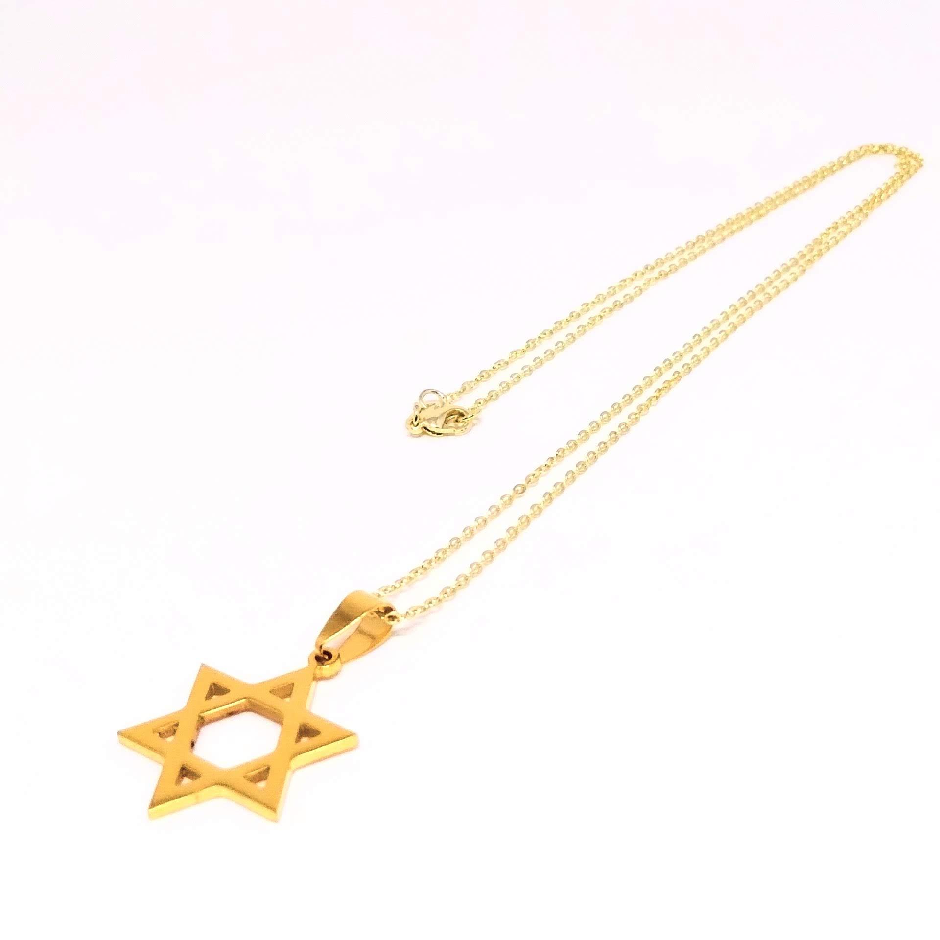 Colar Corrente Elo Simples Banhada ouro 18k Estrela de Davi