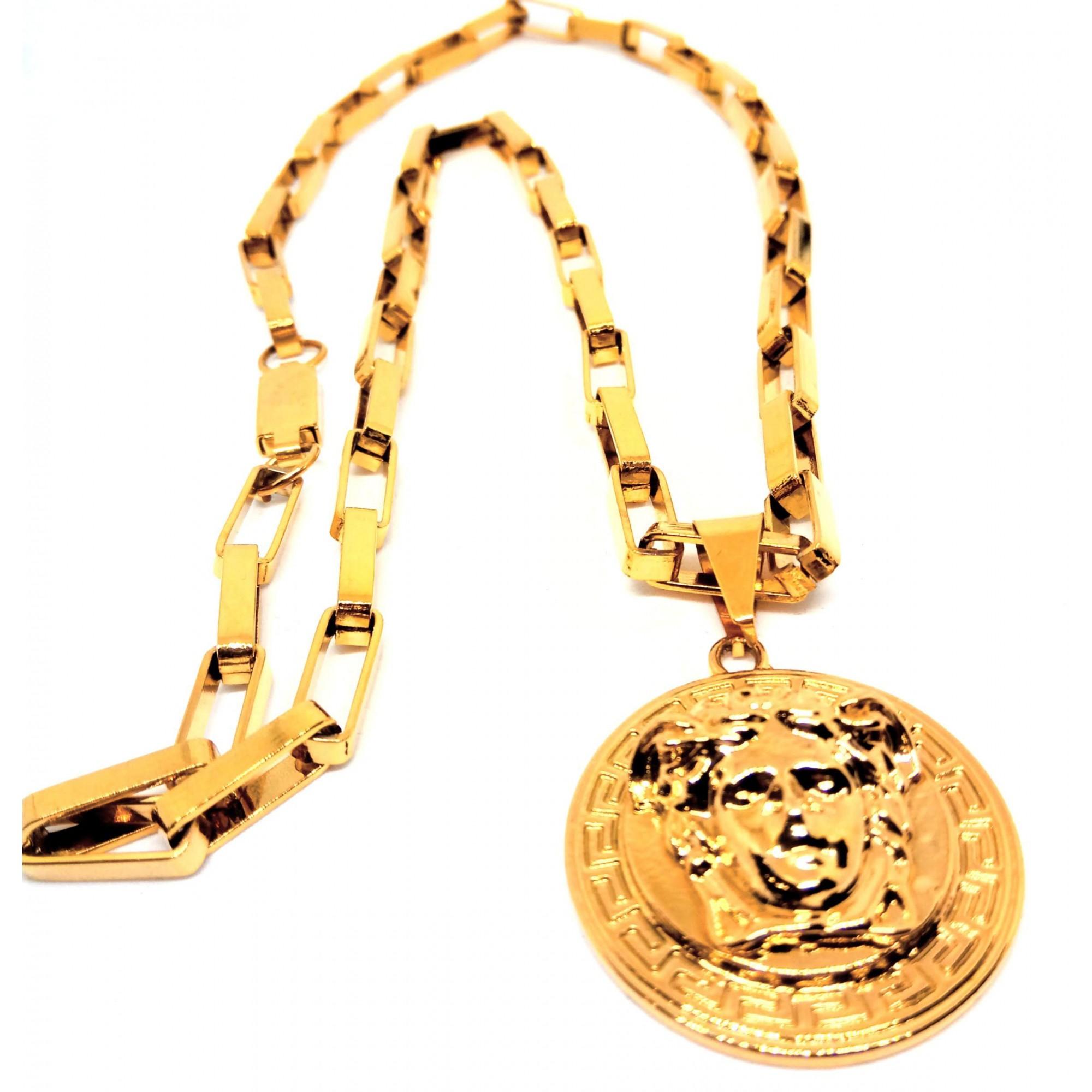 Colar Corrente Elos Quadrado Tijolinho Banhada Ouro Medusa