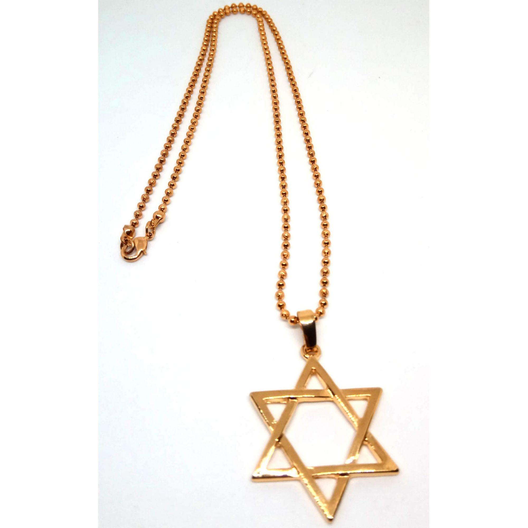 Colar Corrente Feminina Banhada a ouro 18k Estrela de Davi