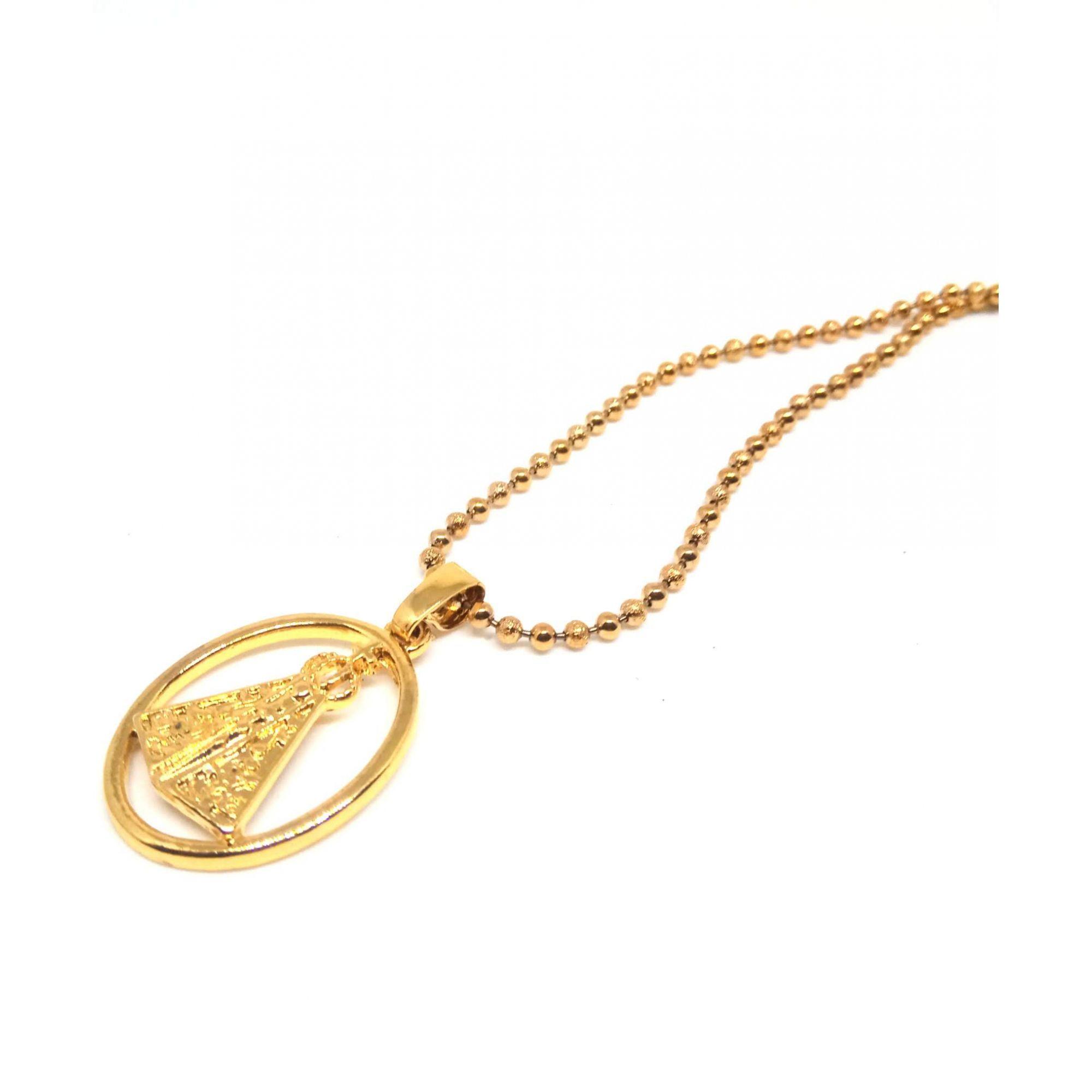 Colar Corrente Feminina Banhada ouro 18k Bolinhas Aparecida