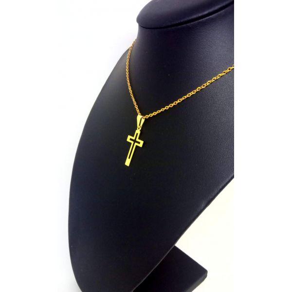 Colar Corrente Feminina Banhada ouro 18k Cruz Vazada