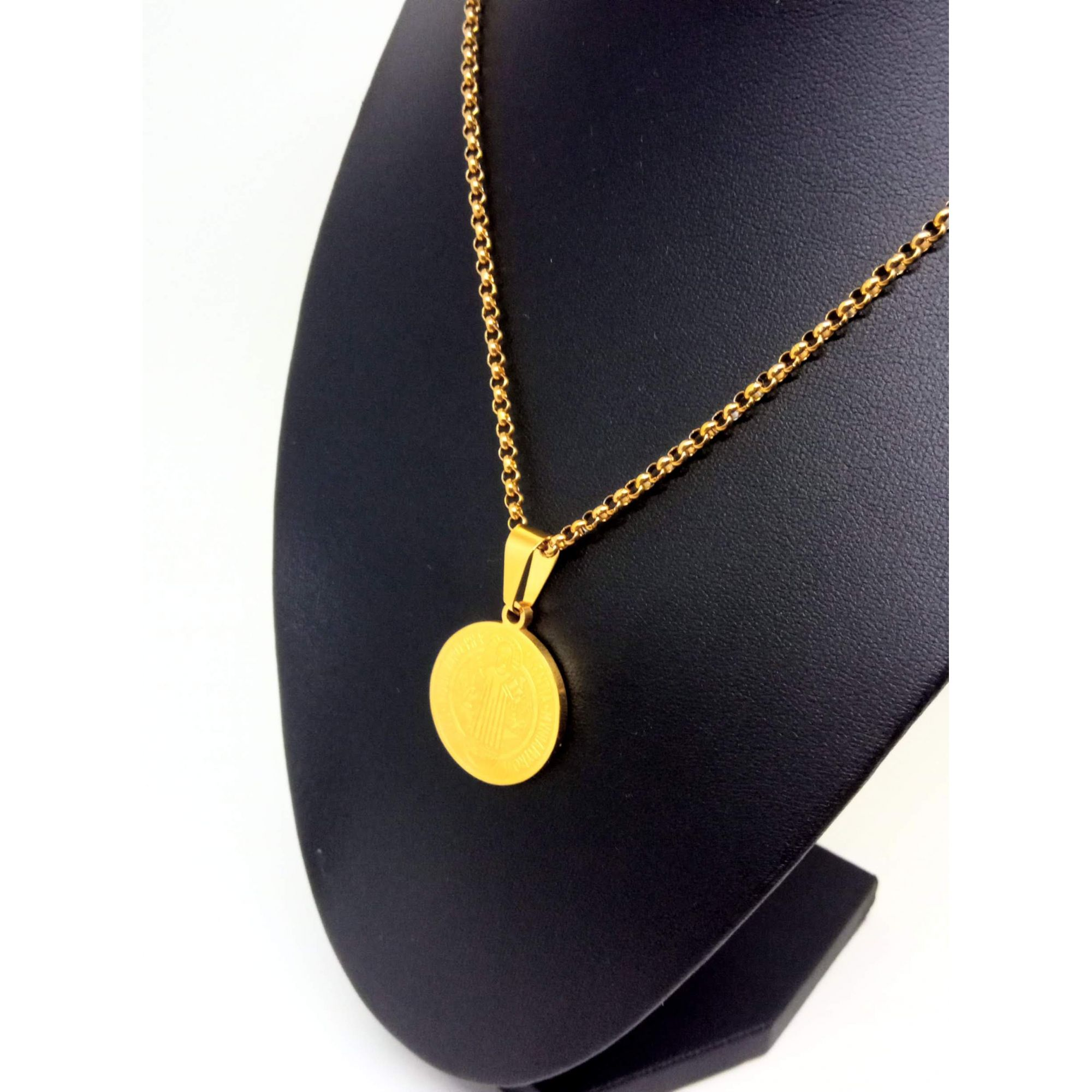 Colar Corrente Feminina Banhada ouro 18k Medalha São Bento
