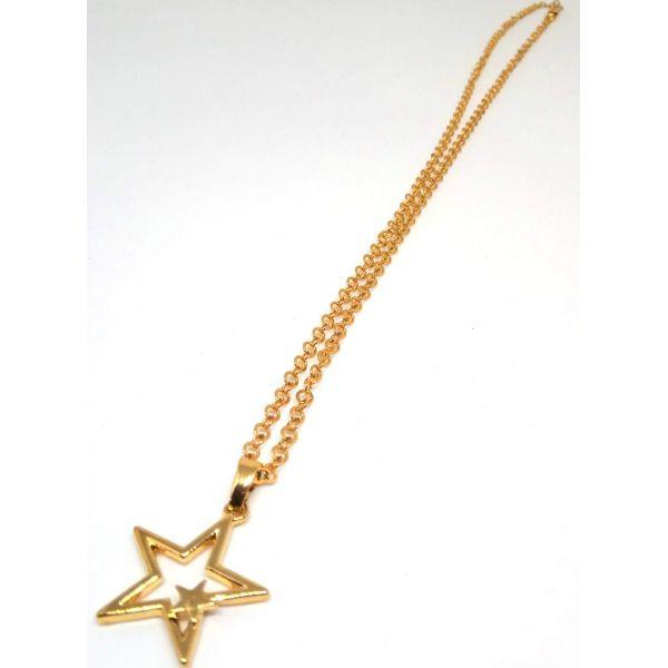 Colar Corrente Feminina Banhada ouro 18k Ping Estrela Dupla