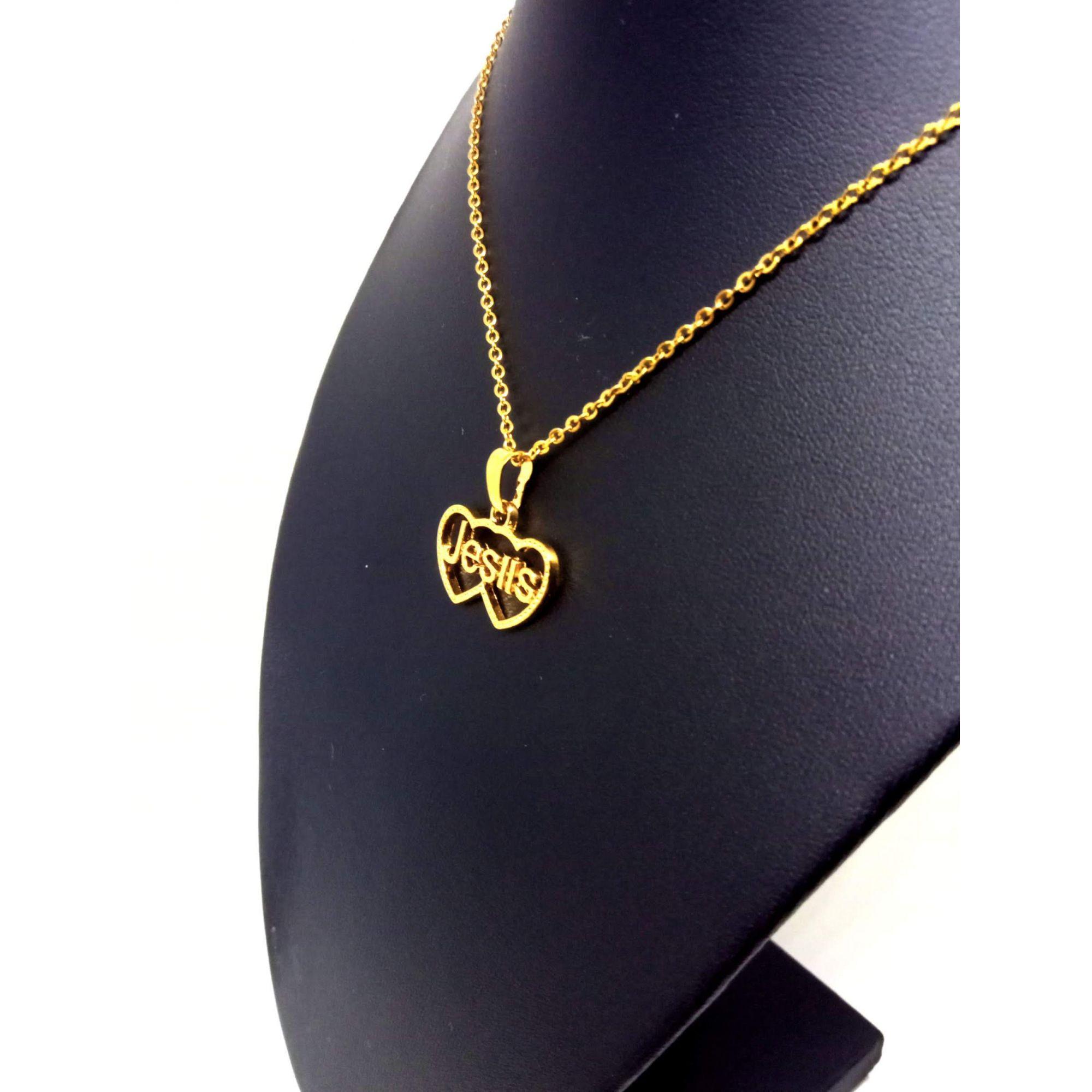 Colar Corrente Feminina Banhada ouro 18k Ping Jesus Coração