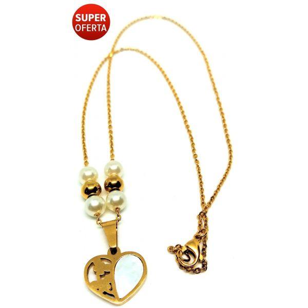 Colar Corrente Feminina Coração Banhado A Ouro 18k 50cm Dourado