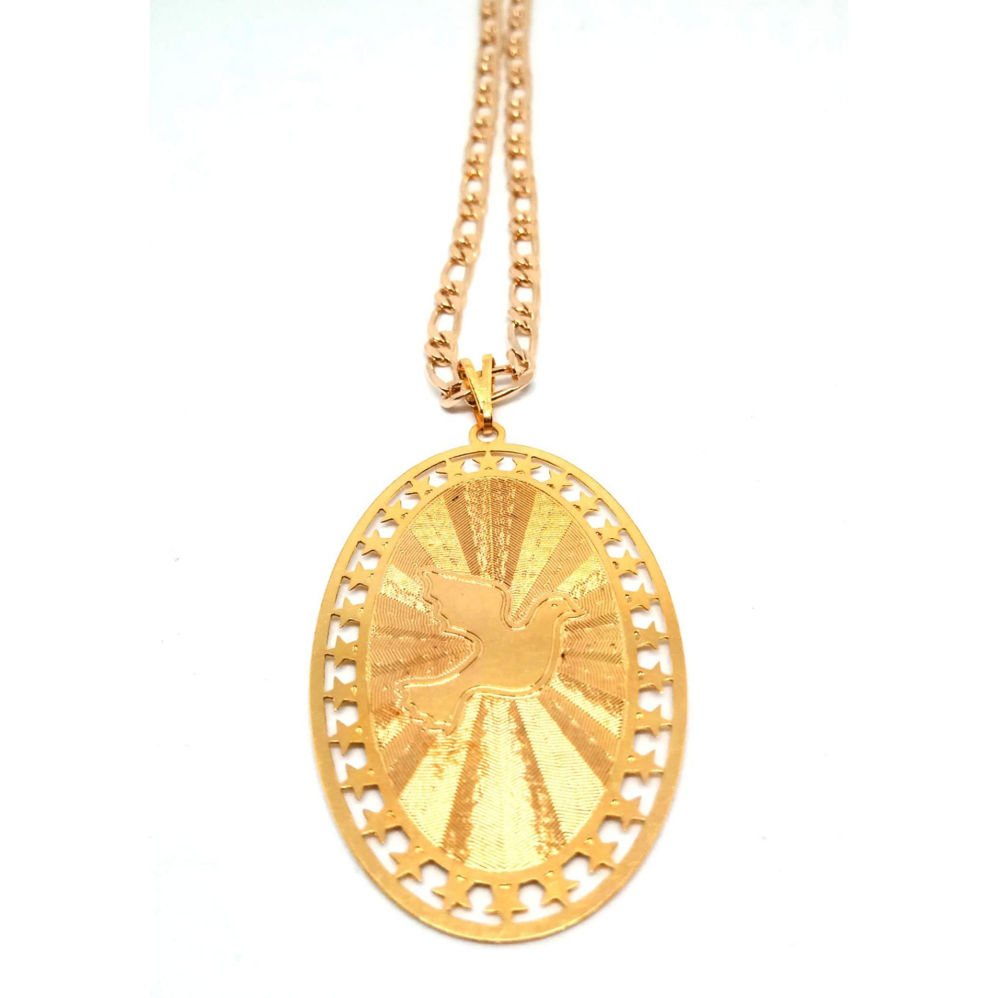 Colar Corrente Feminina Medalha Espirito Santo Banhada Ouro