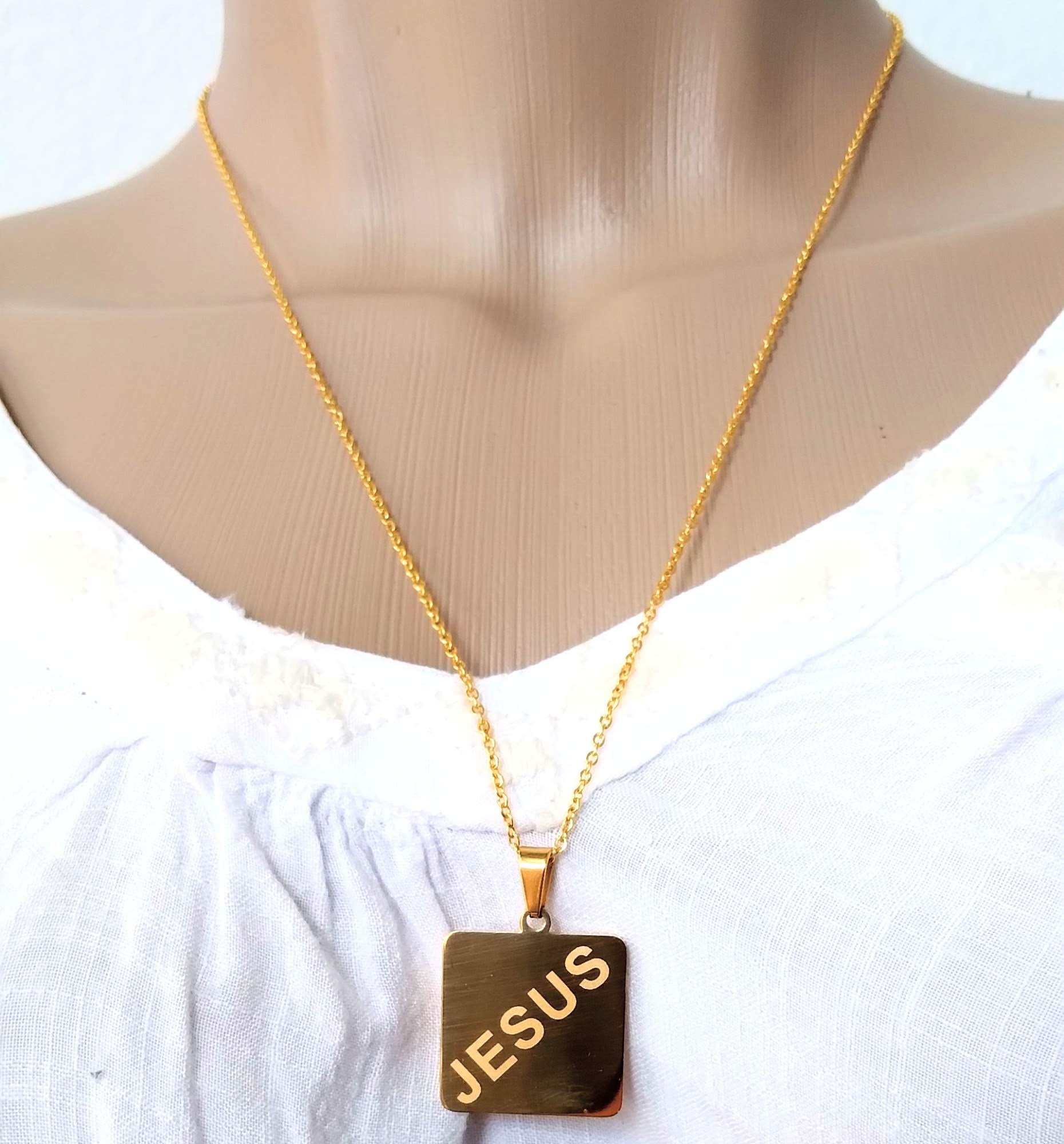 Colar Corrente Feminina Placa Jesus Banhada ouro 18k
