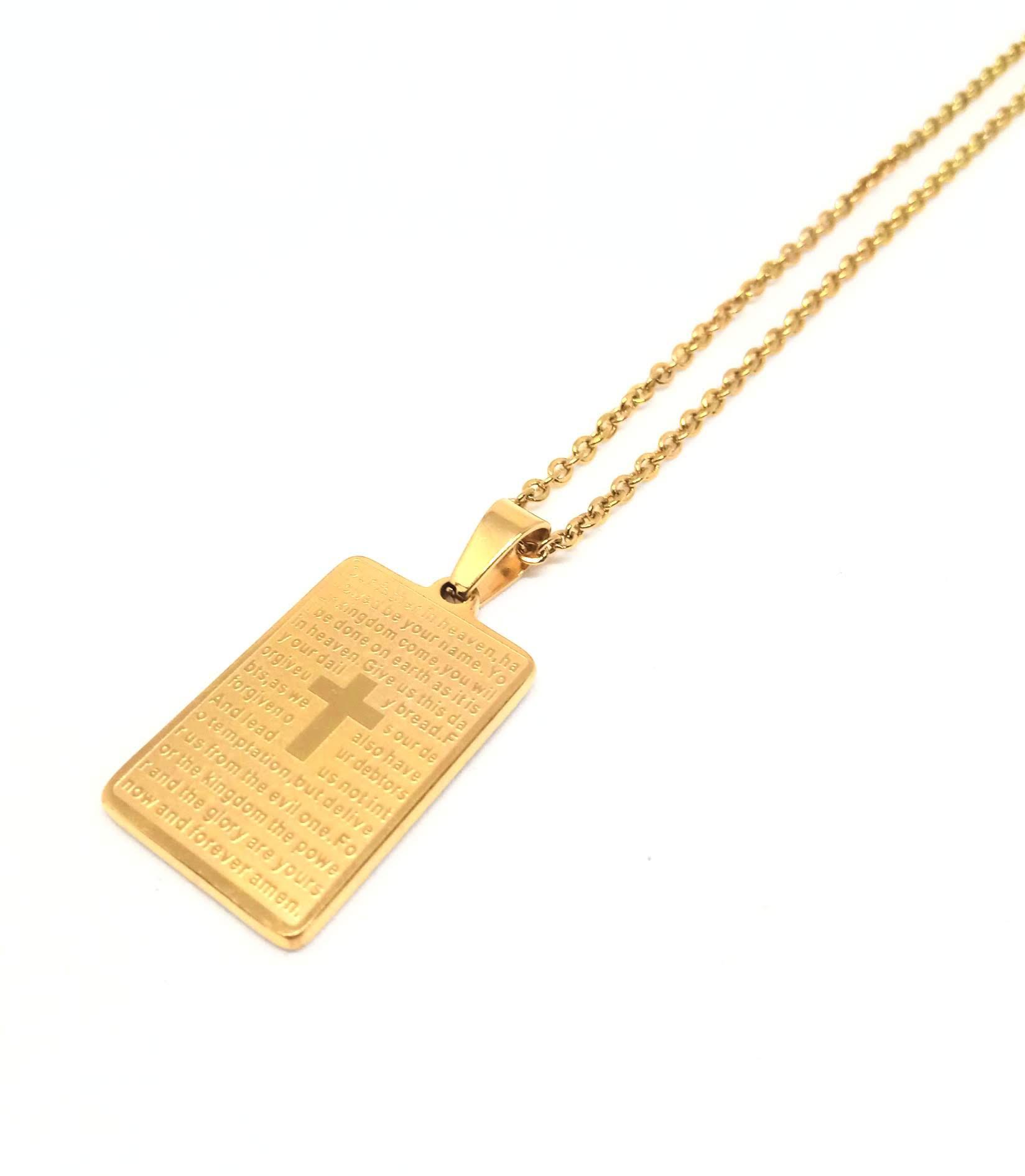Colar Corrente Feminino Banhado ouro 18k Placa Pai Nosso