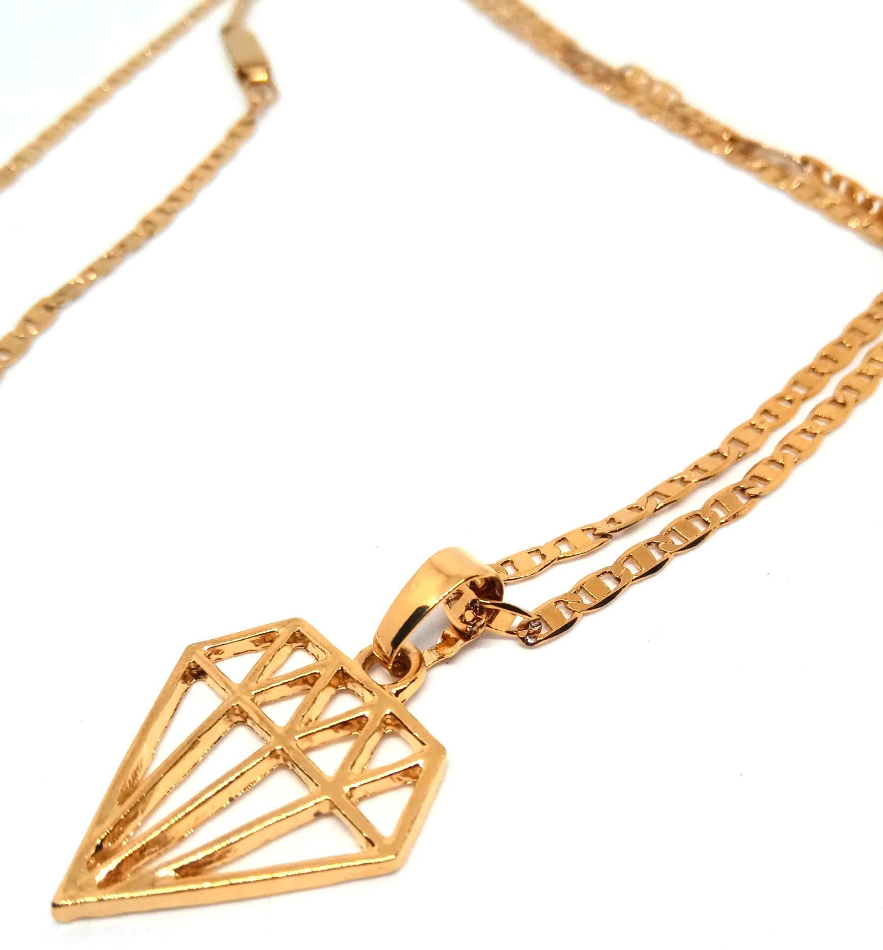 Colar Corrente Piastrine Banhada ouro 18k Ping Diamante