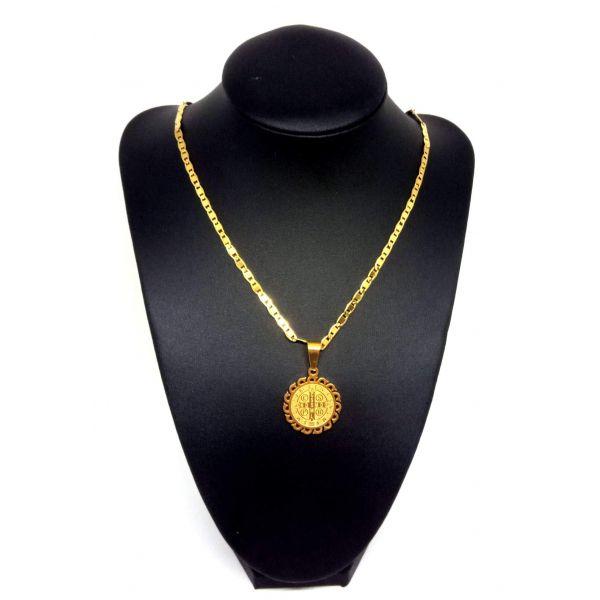 Colar Corrente Unissex Banhada Ouro 18k Ping Sao Bento Star