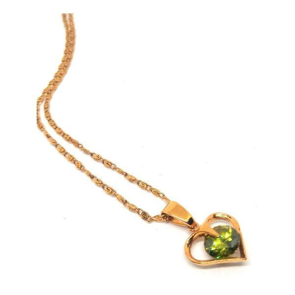Colar Feminino Coração Com Zirconia Banhado A Ouro 18k 50cm Dourado