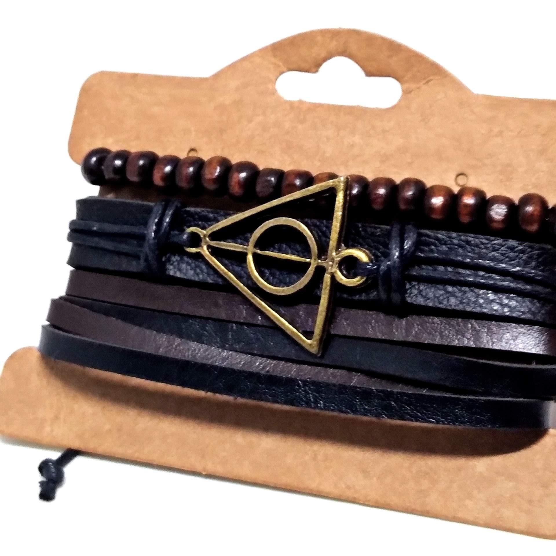 Conjunto Pulseira Couro Harry Potter Relíquias da Morte
