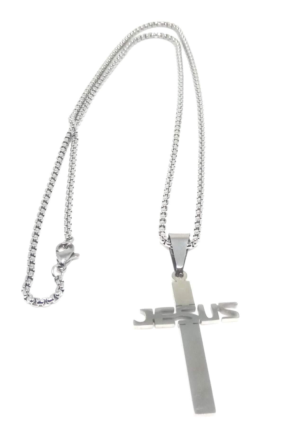 Cordão Corrente Aço Cirúrgico 316L 2,5mm Pingente Cruz Jesus
