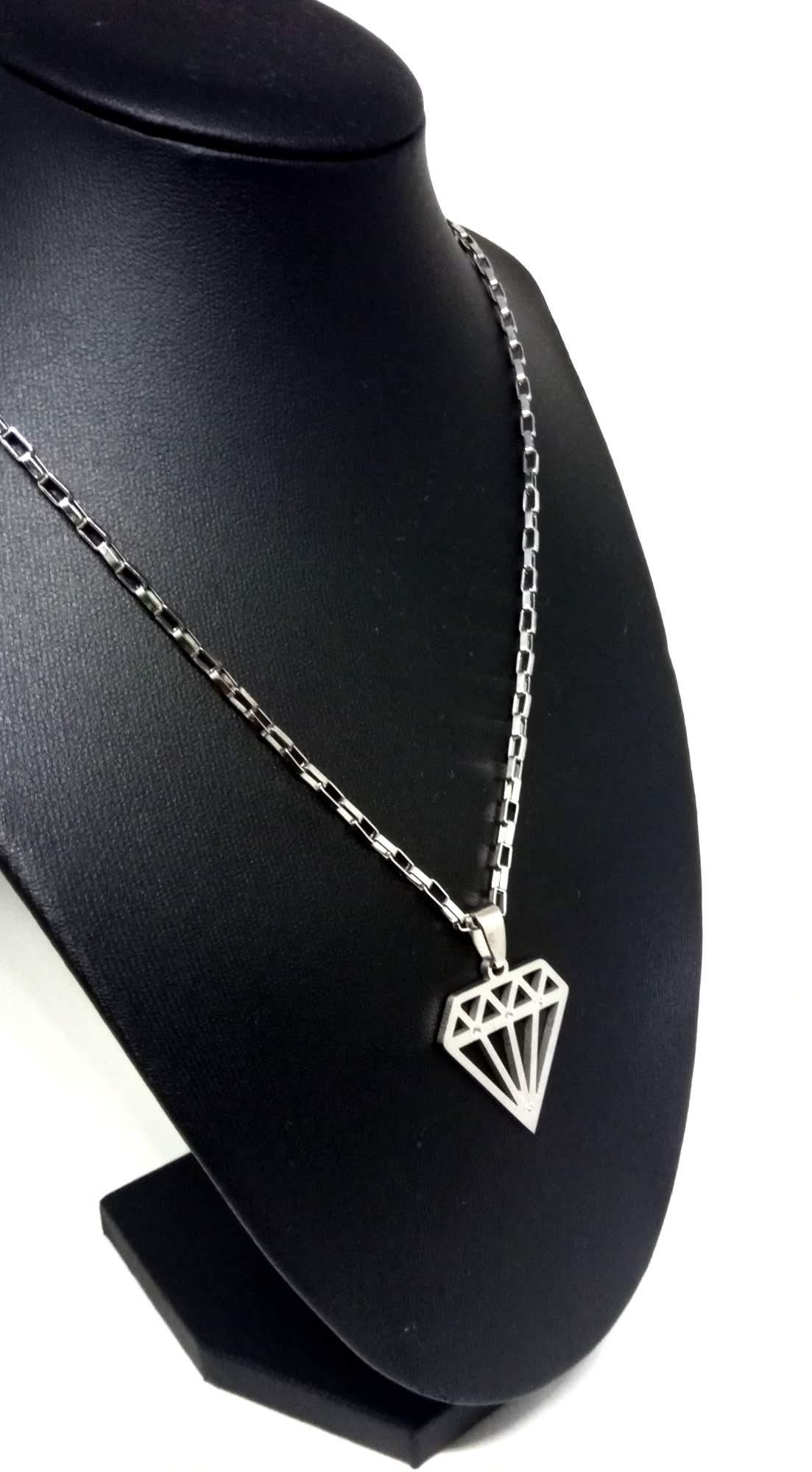 Cordão Corrente Aço Cirúrgico 316L 3mm Pingente Diamante
