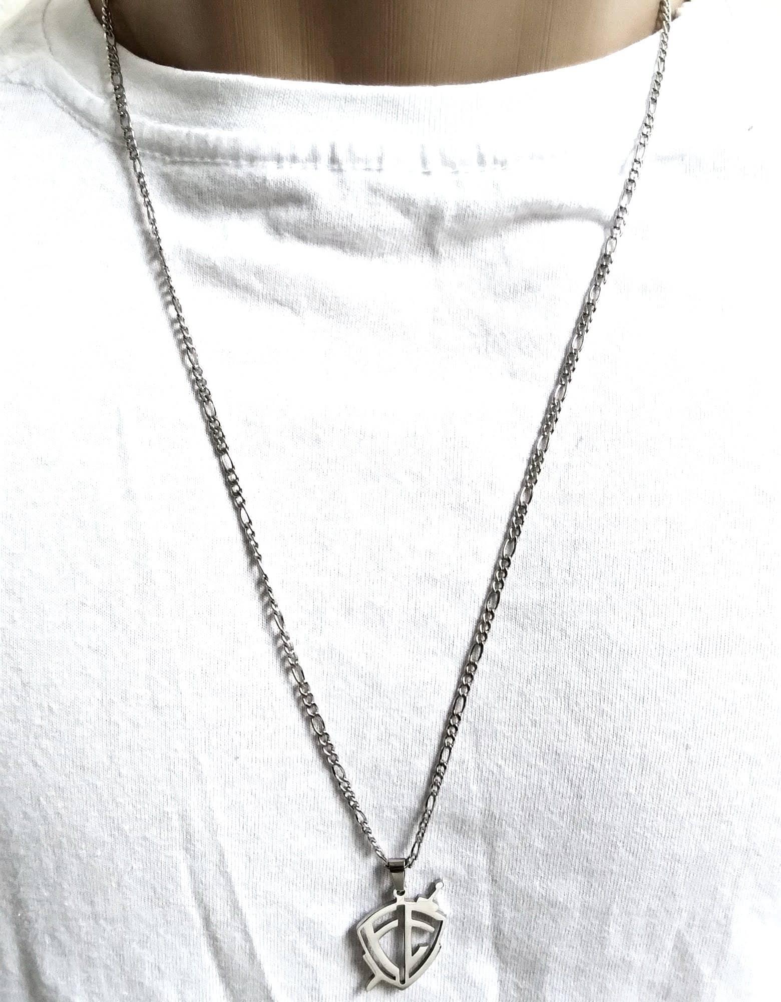 Cordão Corrente Aço Cirúrgico 316L 4mm 70cm Escudo Fé