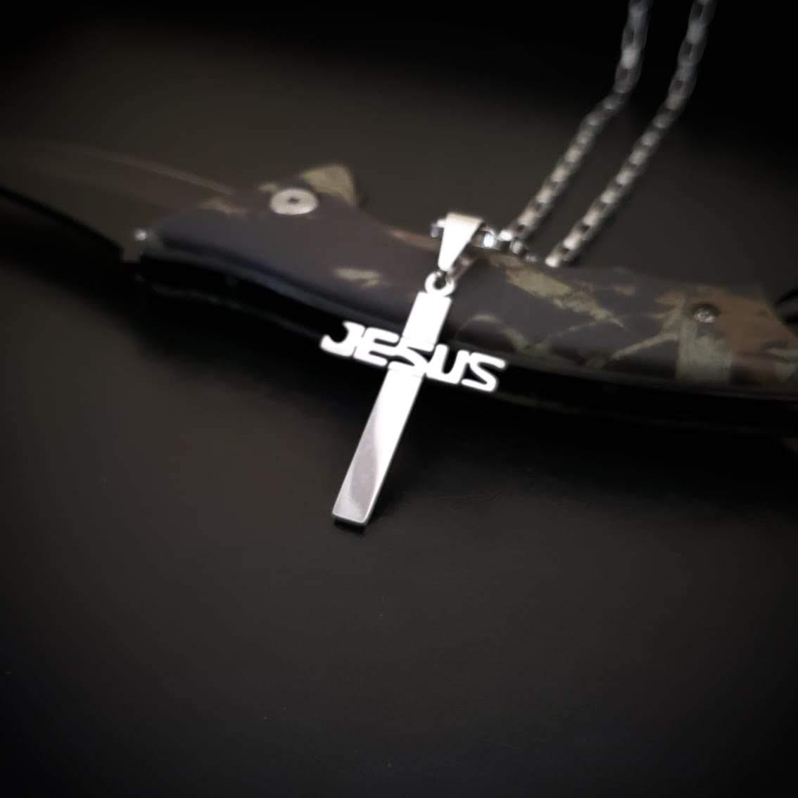 Cordão Corrente Aço Cirúrgico 316L Tijolinho Pingente Jesus