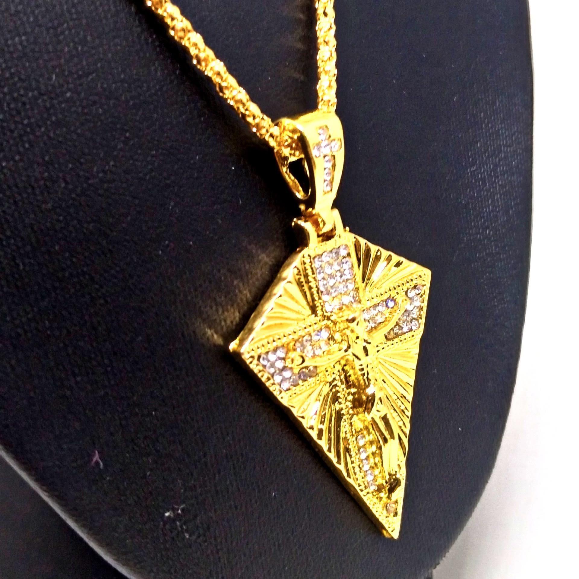 Cordão Corrente Banhada Ouro 18k Placa Cristo na Cruz