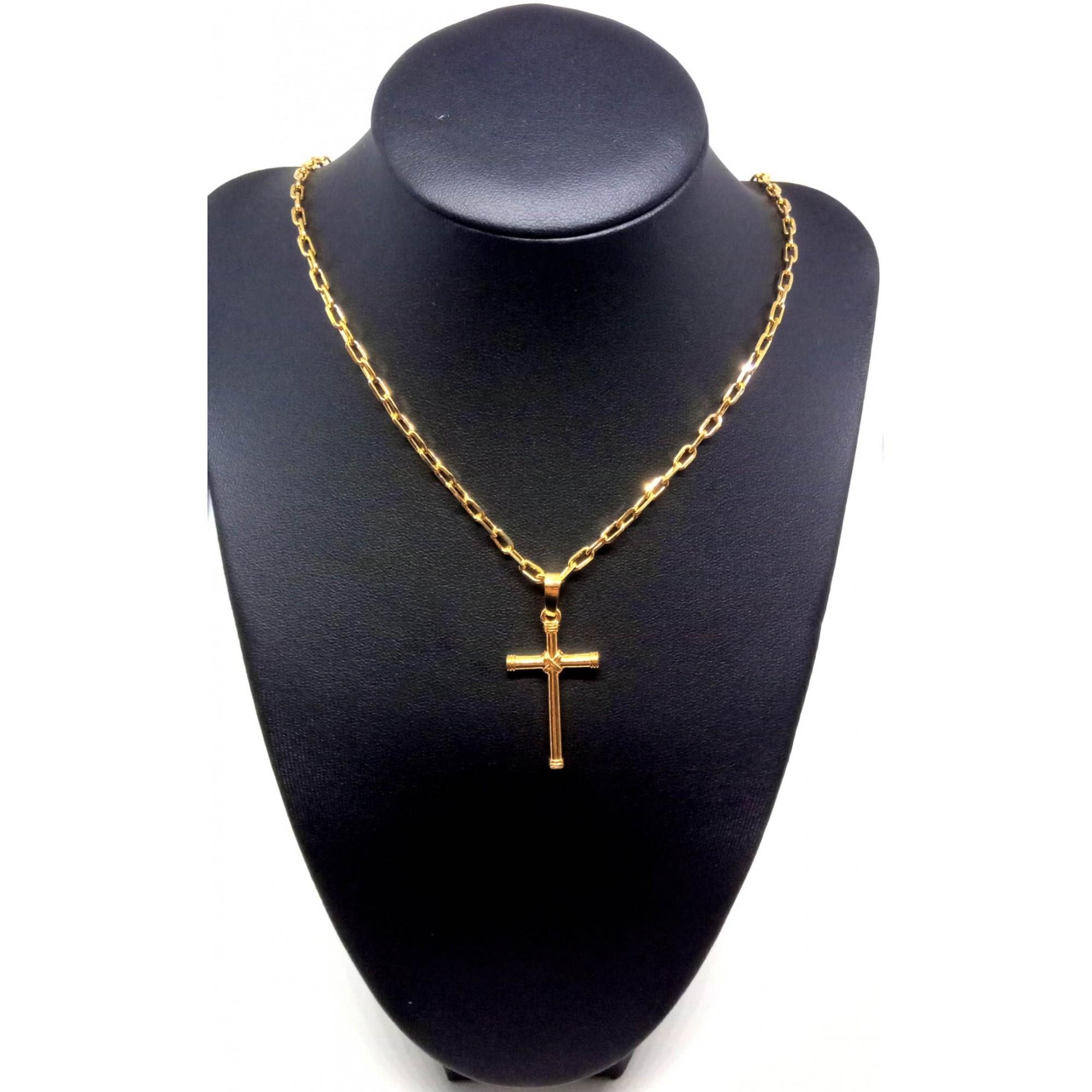 Cordão Corrente Elo Cadeado Banhada Ouro 18k Pingente Cruz