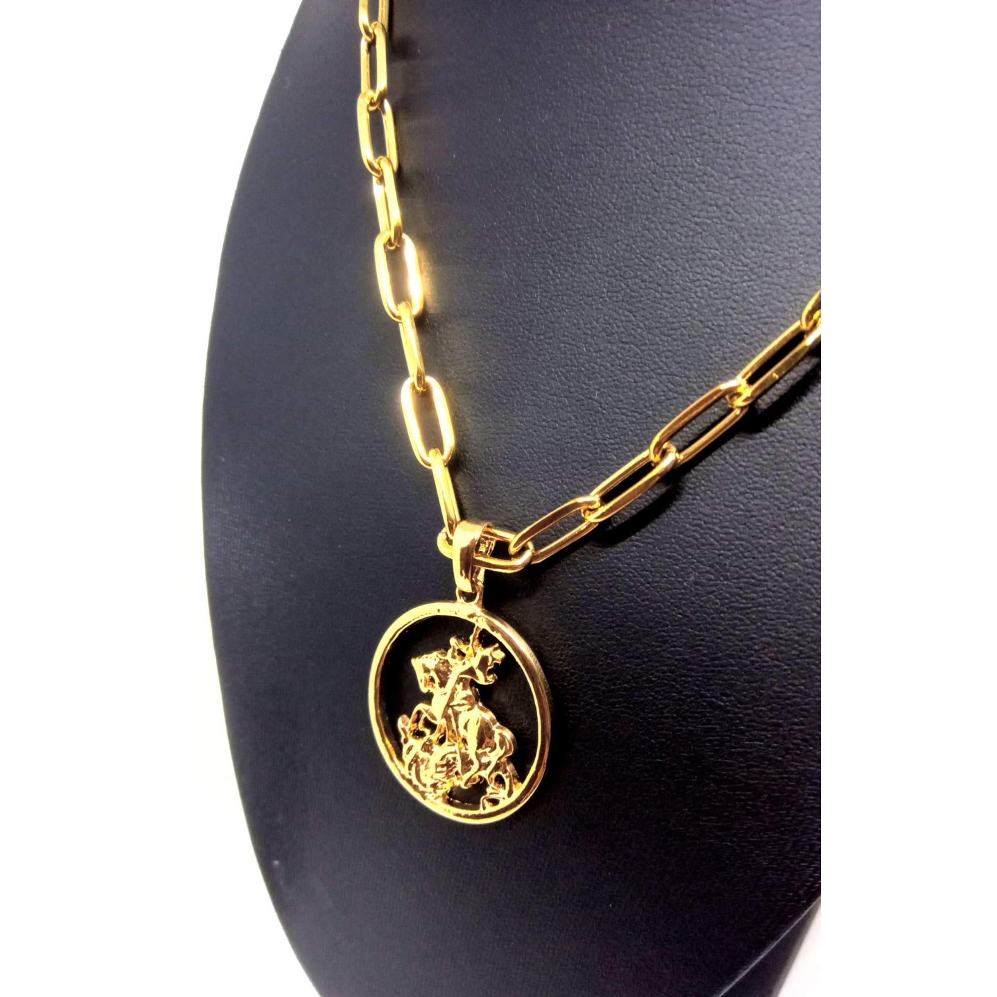 Cordão Corrente Elo Cadeado 6mm Banhada Ouro 18k São Jorge G